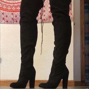 Thigh high black high heels